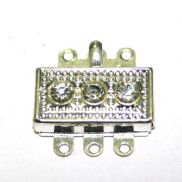 2pcs x Silver Plated Clip Rectangular Clasp with Rhinestone 24mm